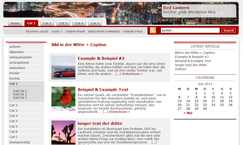 WordPress Template Red Lantern